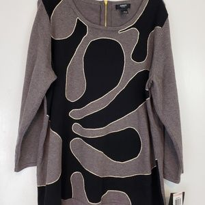 Alfani paris chic blk gray gold sweater 2x nwt